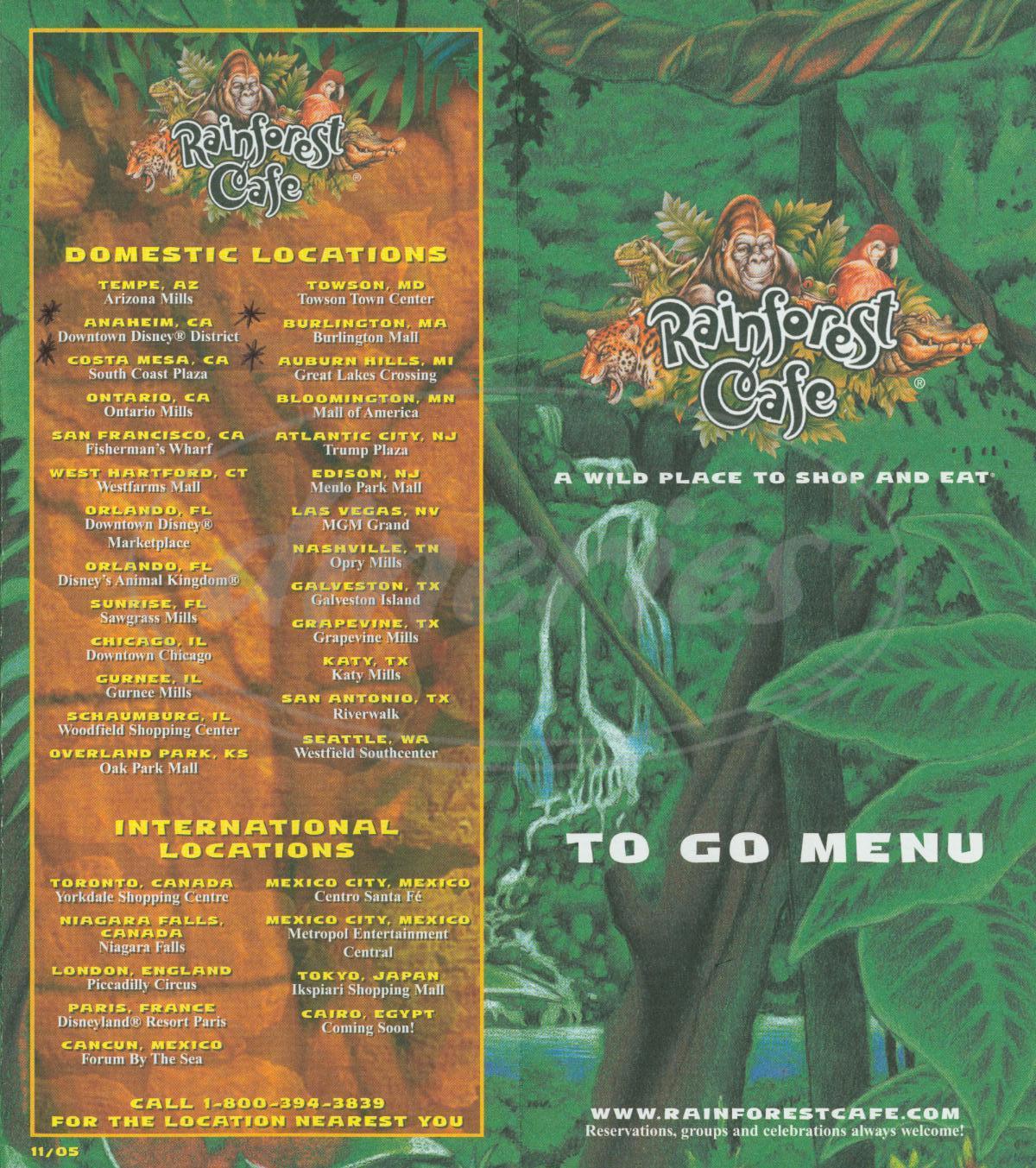 Rainforest Cafe Anaheim Menu