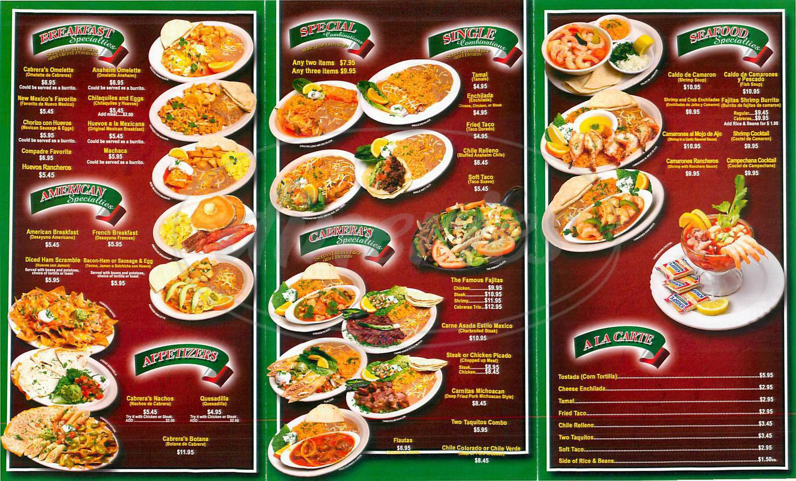 Cabrera 39 a mexican cuisine menu duarte dineries for About mexican cuisine