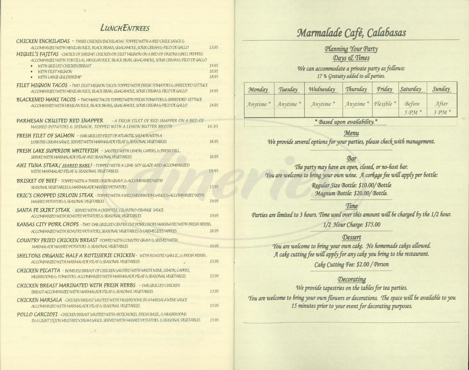 Permalink to Marmalade Cafe Menu