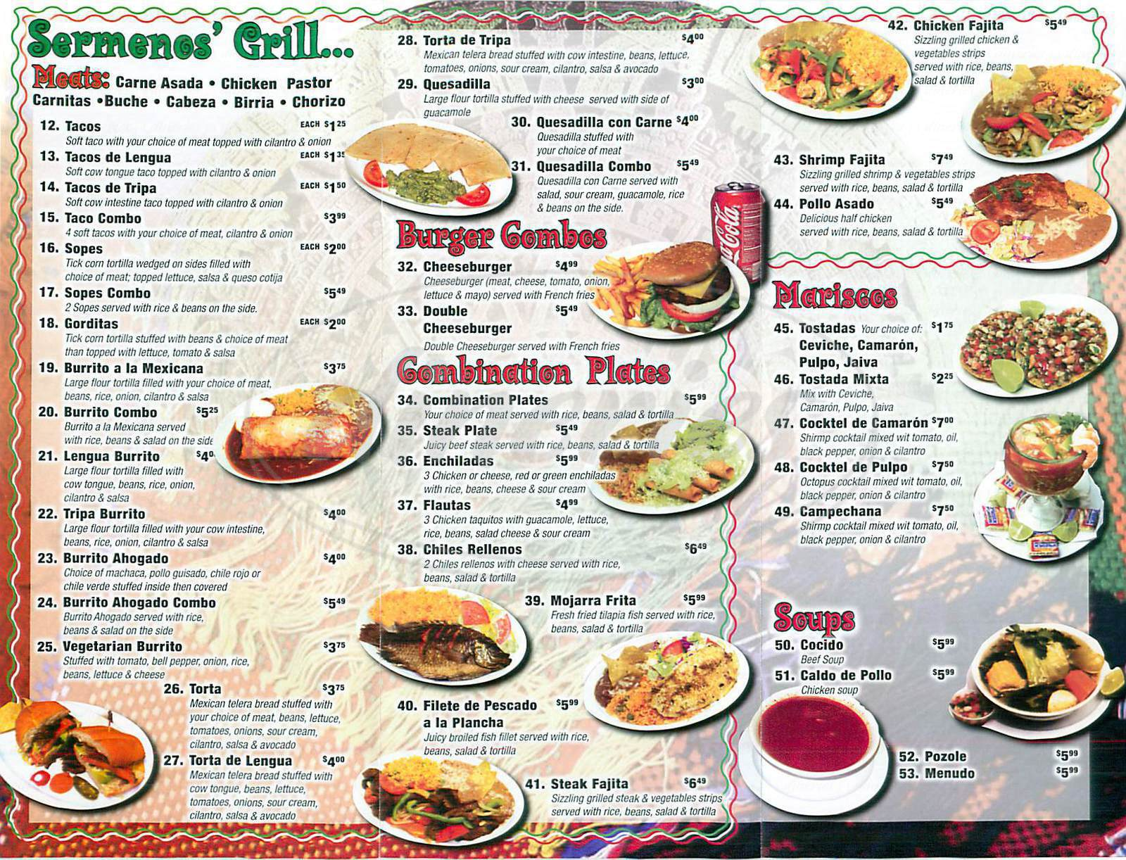 menu for Sermenos Restaurant