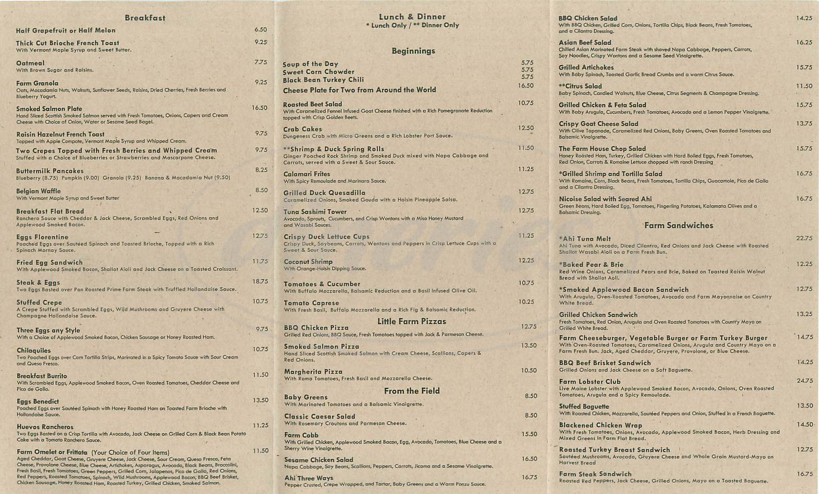 menu for The Farm of Beverly Hills