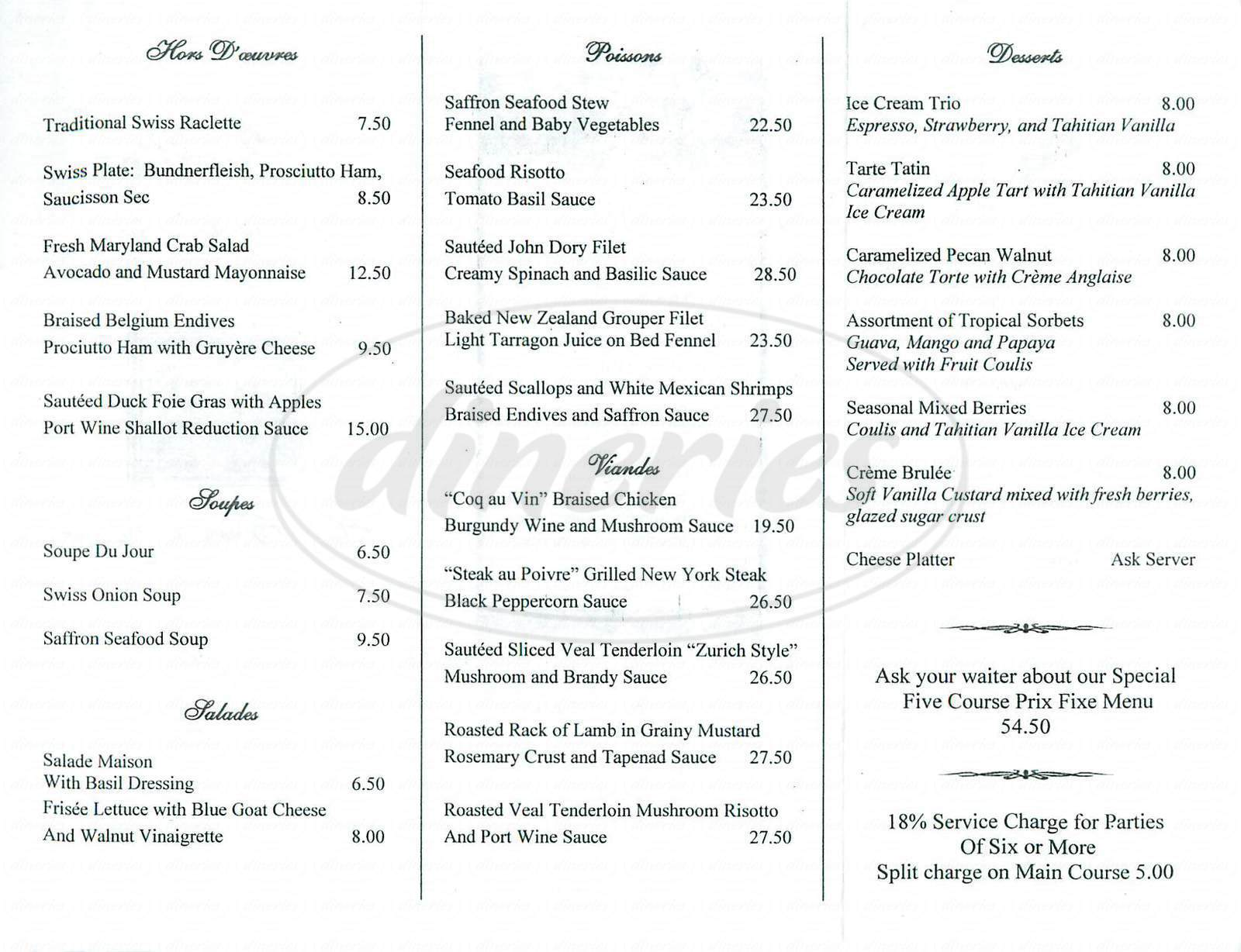 menu for Basilic Restaurant