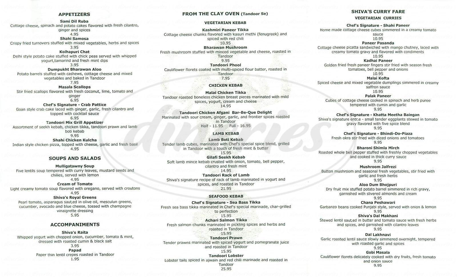 menu for Shiva's Indian Restaurant