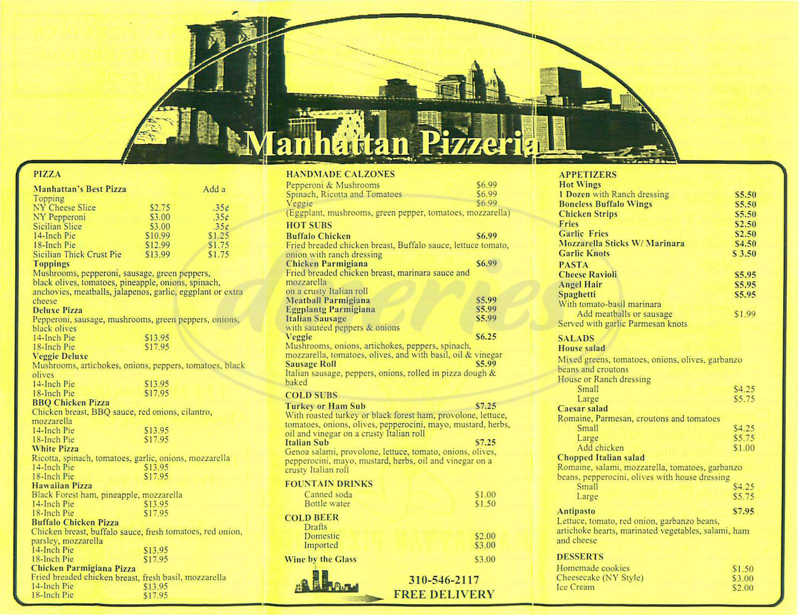 Big menu for Manhattan Pizzeria, Manhattan Beach