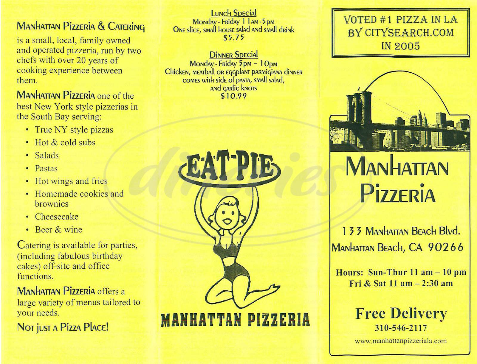 menu for Manhattan Pizzeria