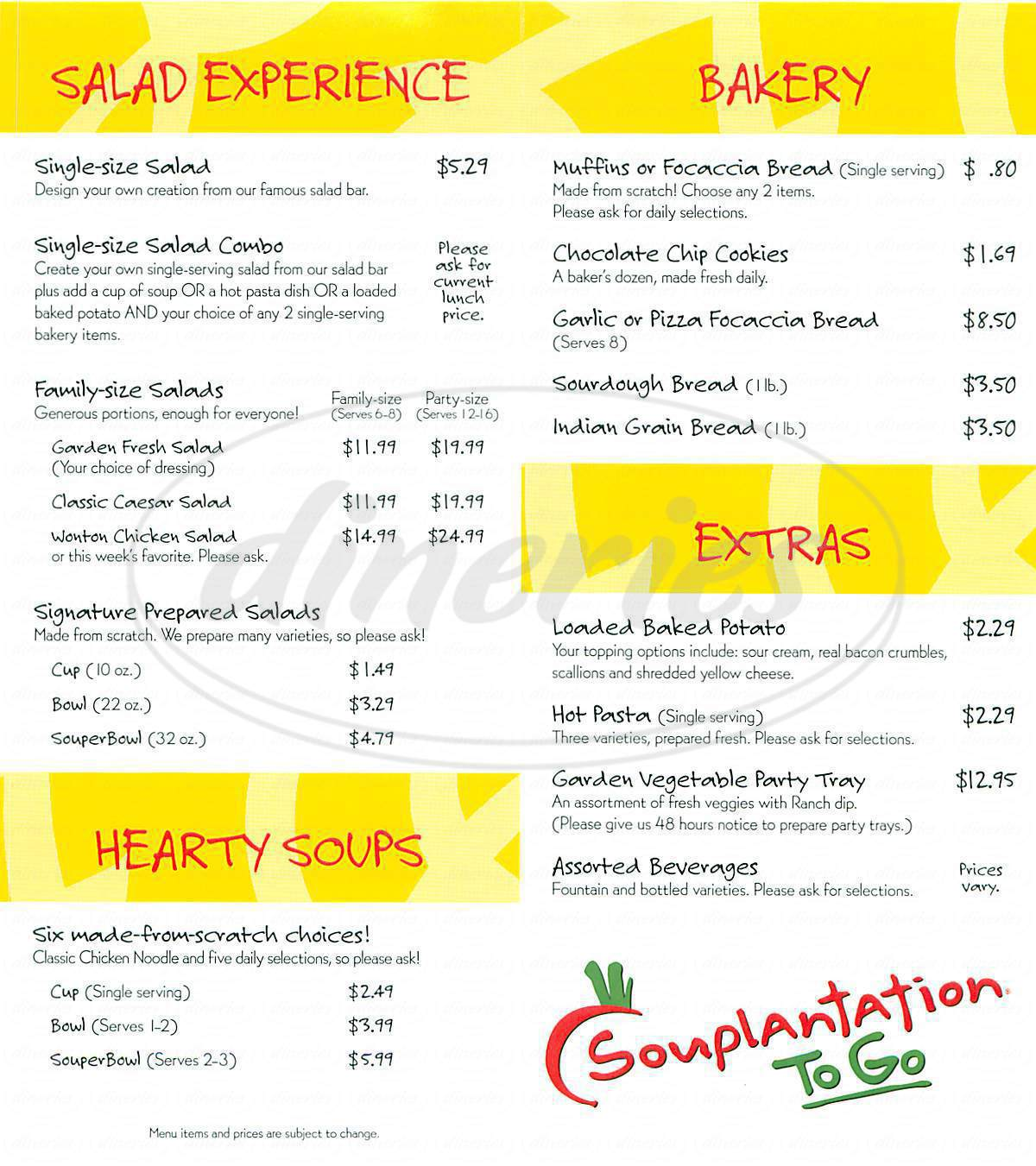 menu for Souplantation