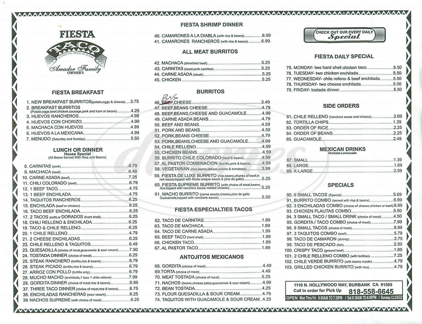 menu for Fiesta Taco