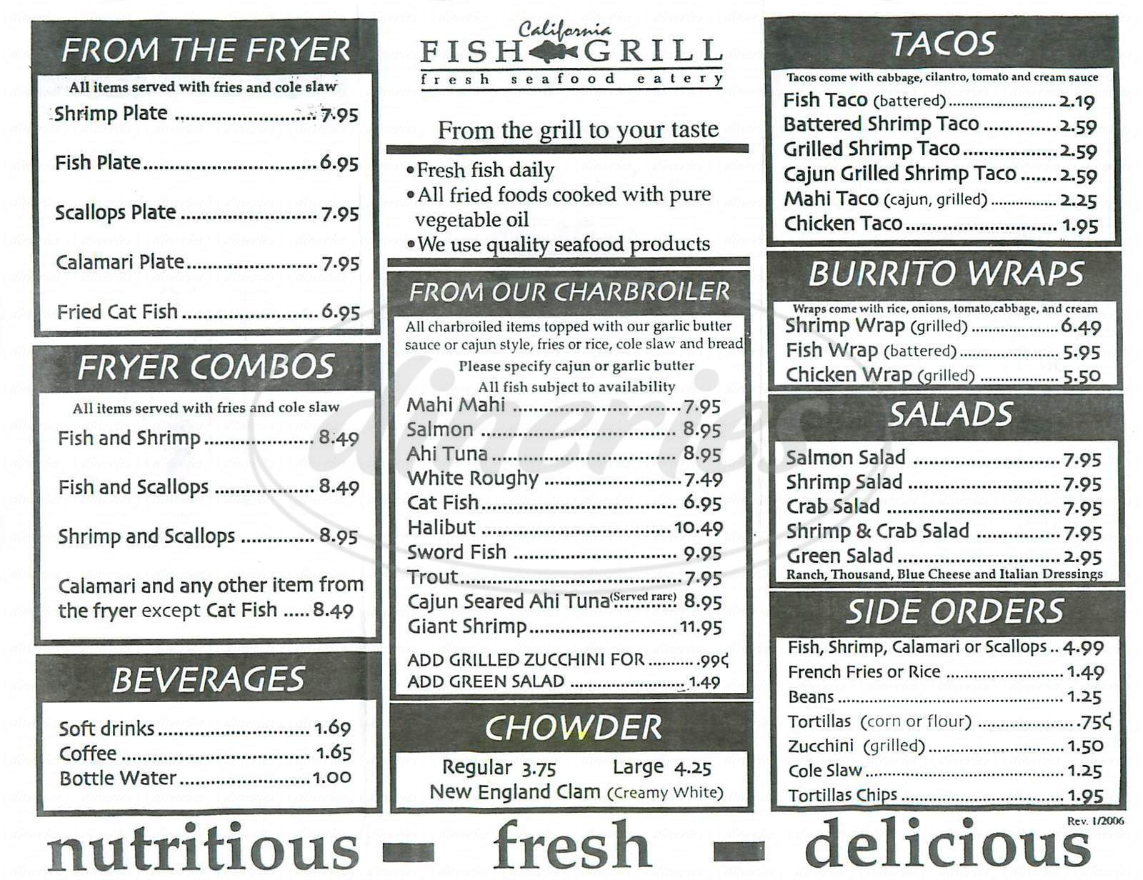 California fish grill menu gardena dineries for Fish grill menu