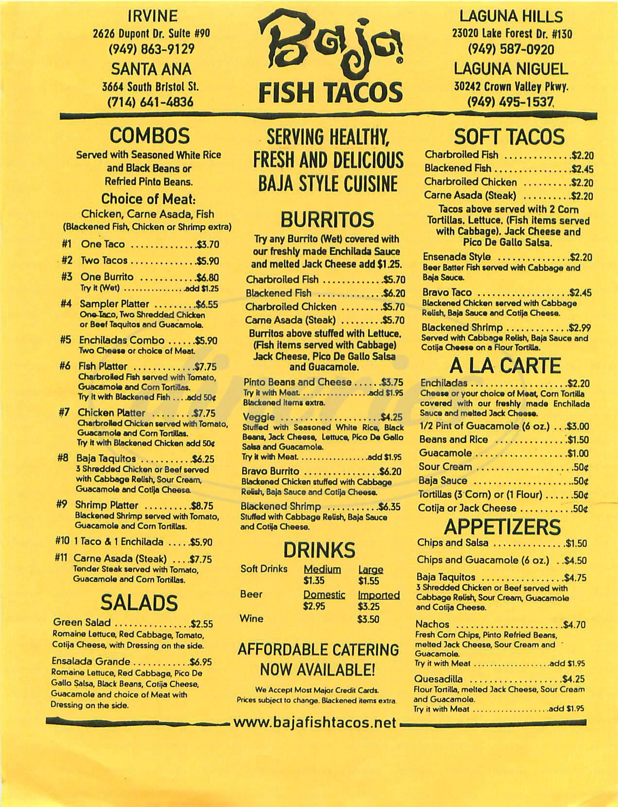 baja fish tacos menu laguna niguel dineries