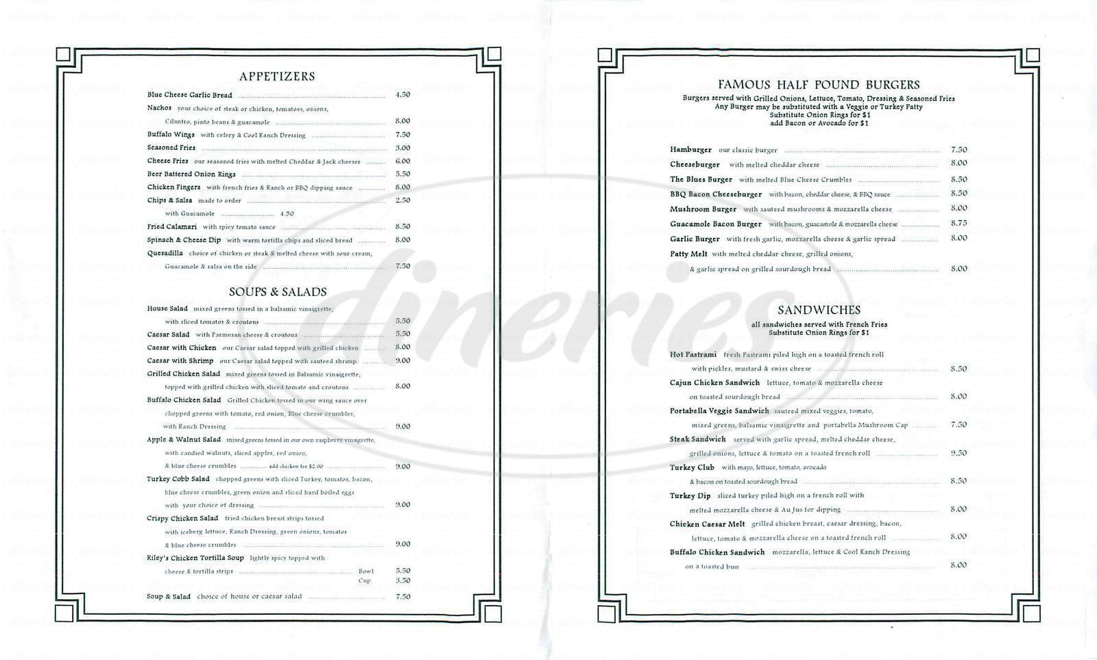 menu for Riley&#x27;s Belmont Shore