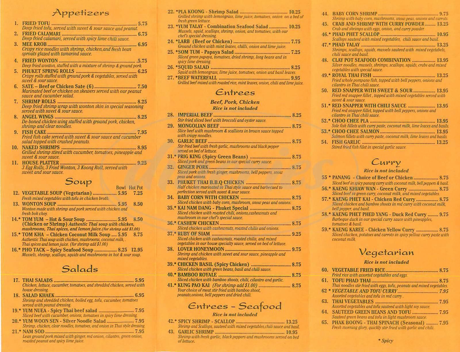 Phuket Thai Restaurant Menu - Huntington Beach - Dineries