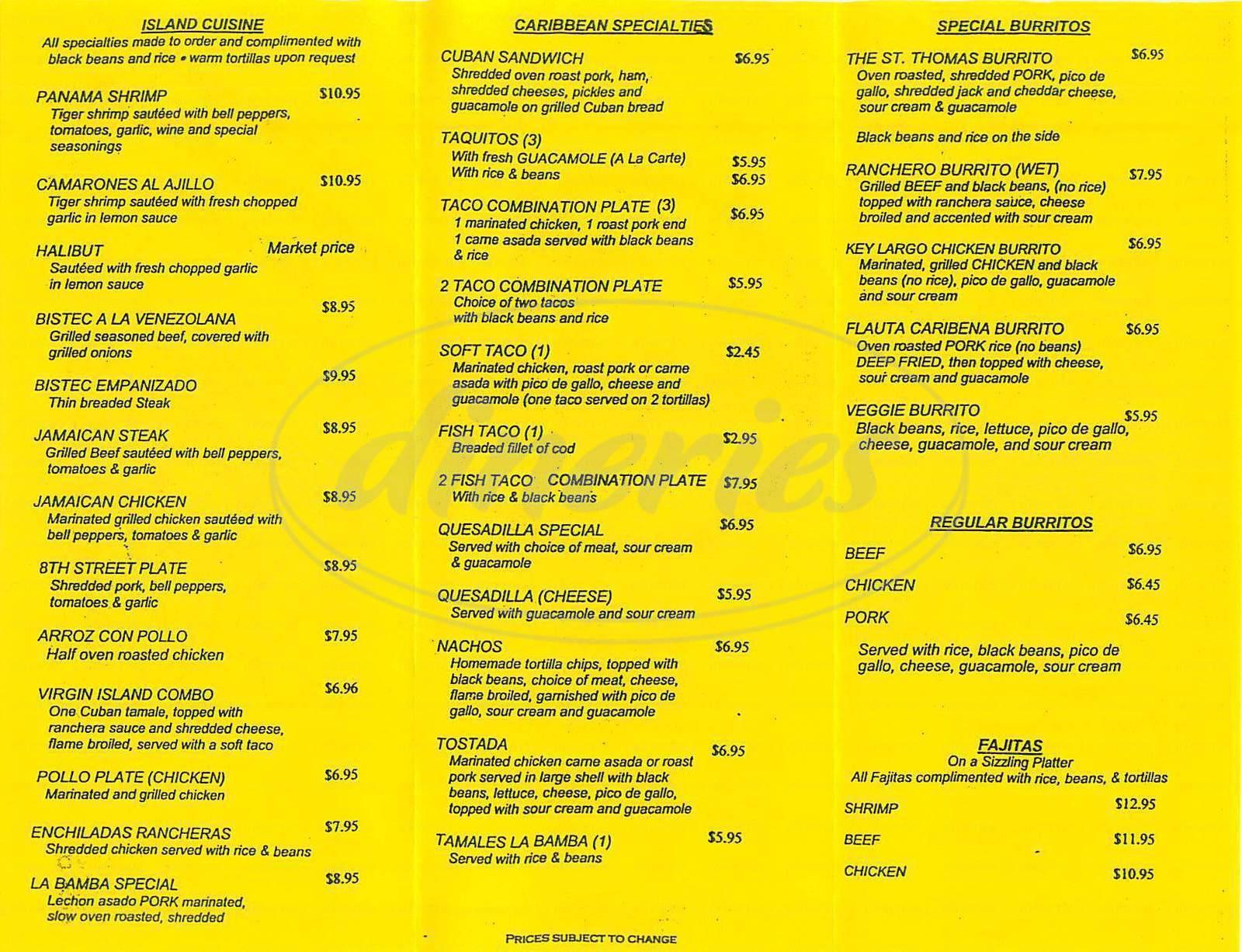 La bamba caribbean cuisine menu burbank dineries for 456 fish menu