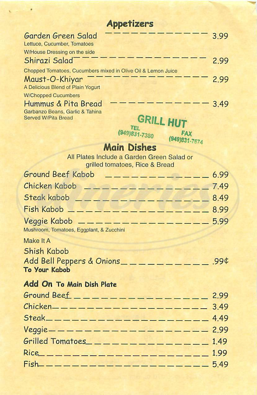 menu for Grill Hut
