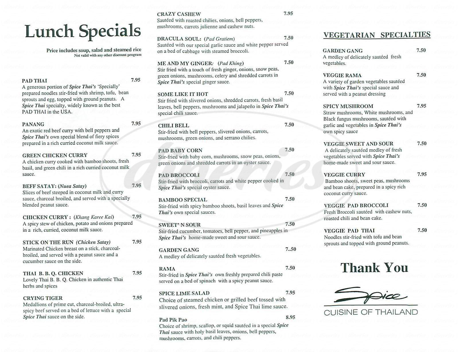 Spice thai cuisine menu lake forest dineries for 8 spices thai cuisine menu