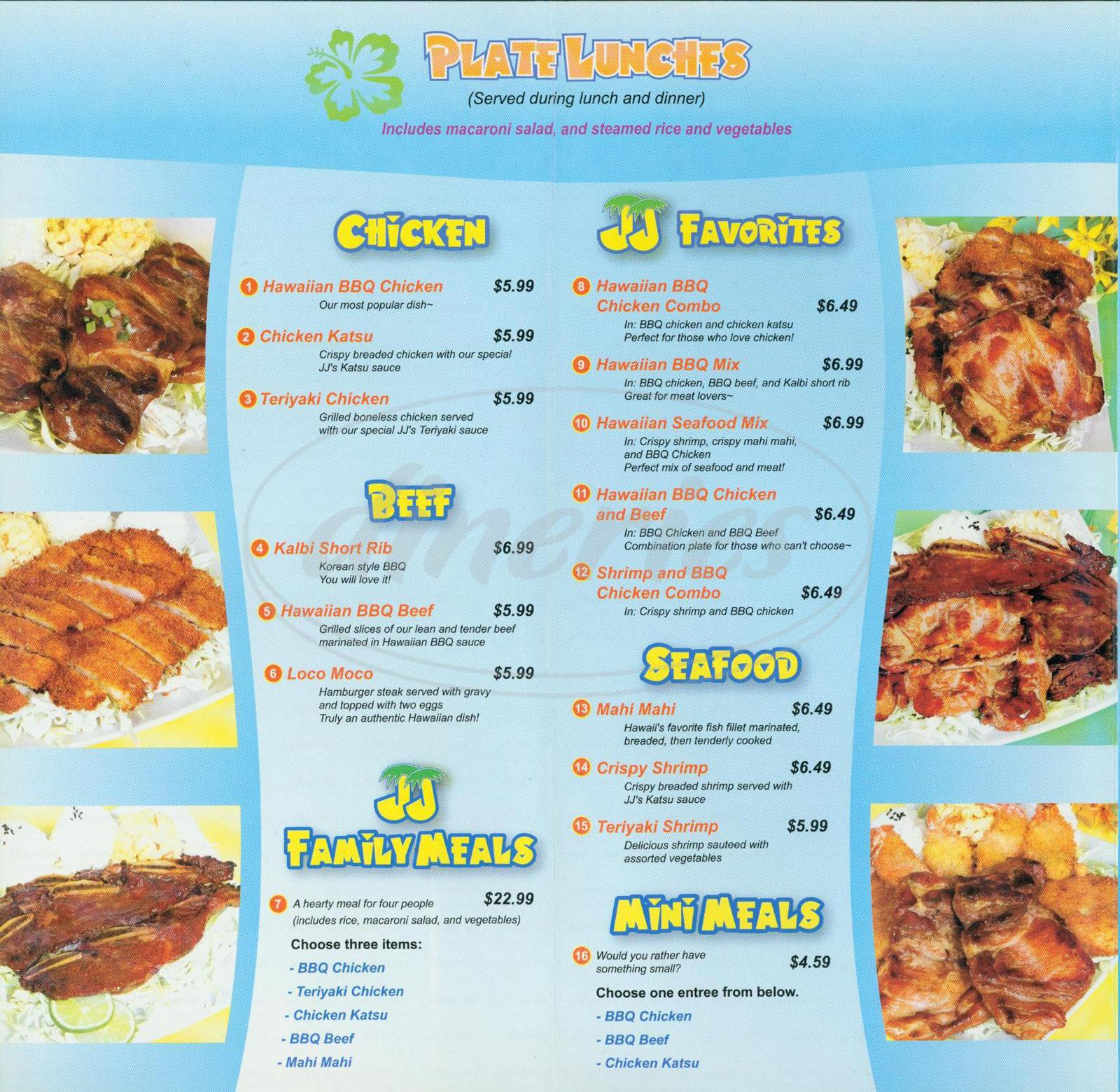 Jj Restaurant Menu