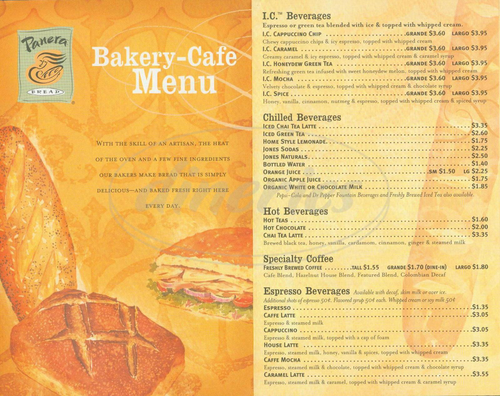 menu for Panera Bread