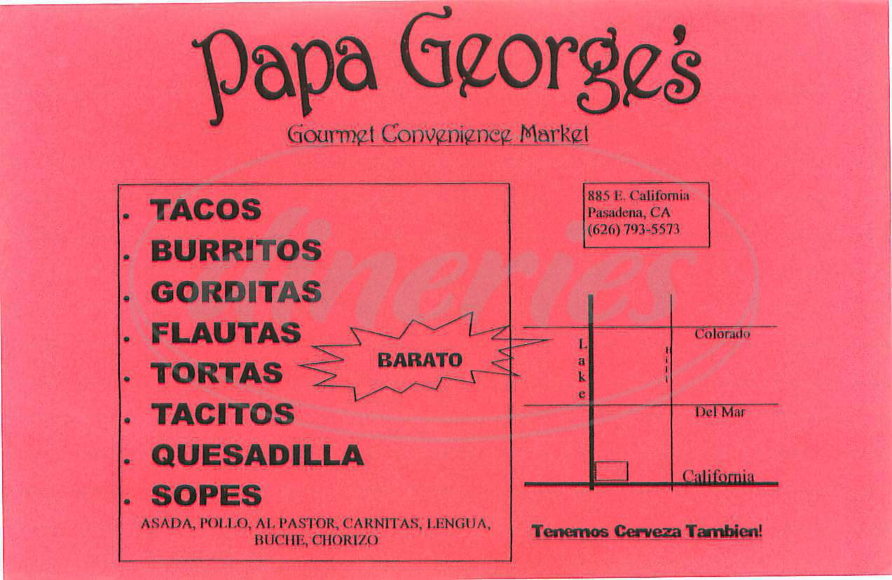 menu for Papa George&#x27;s