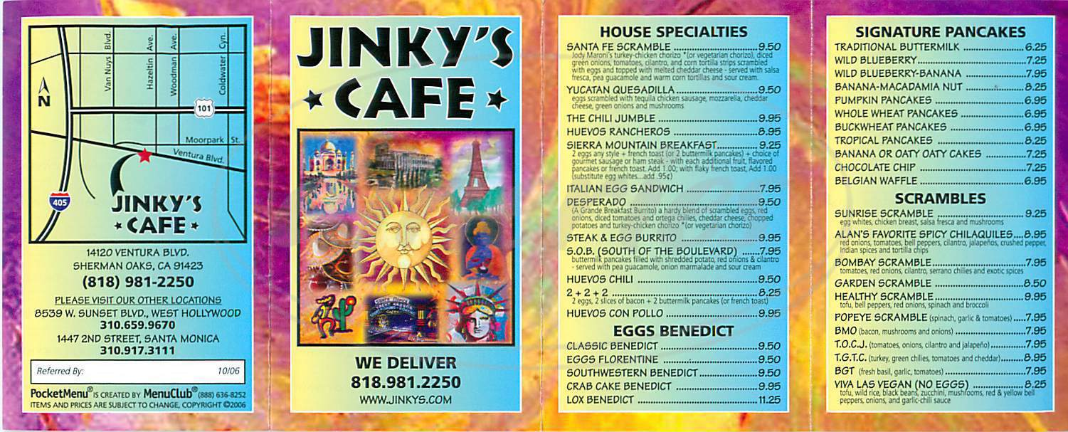 menu for Jinky's Cafe