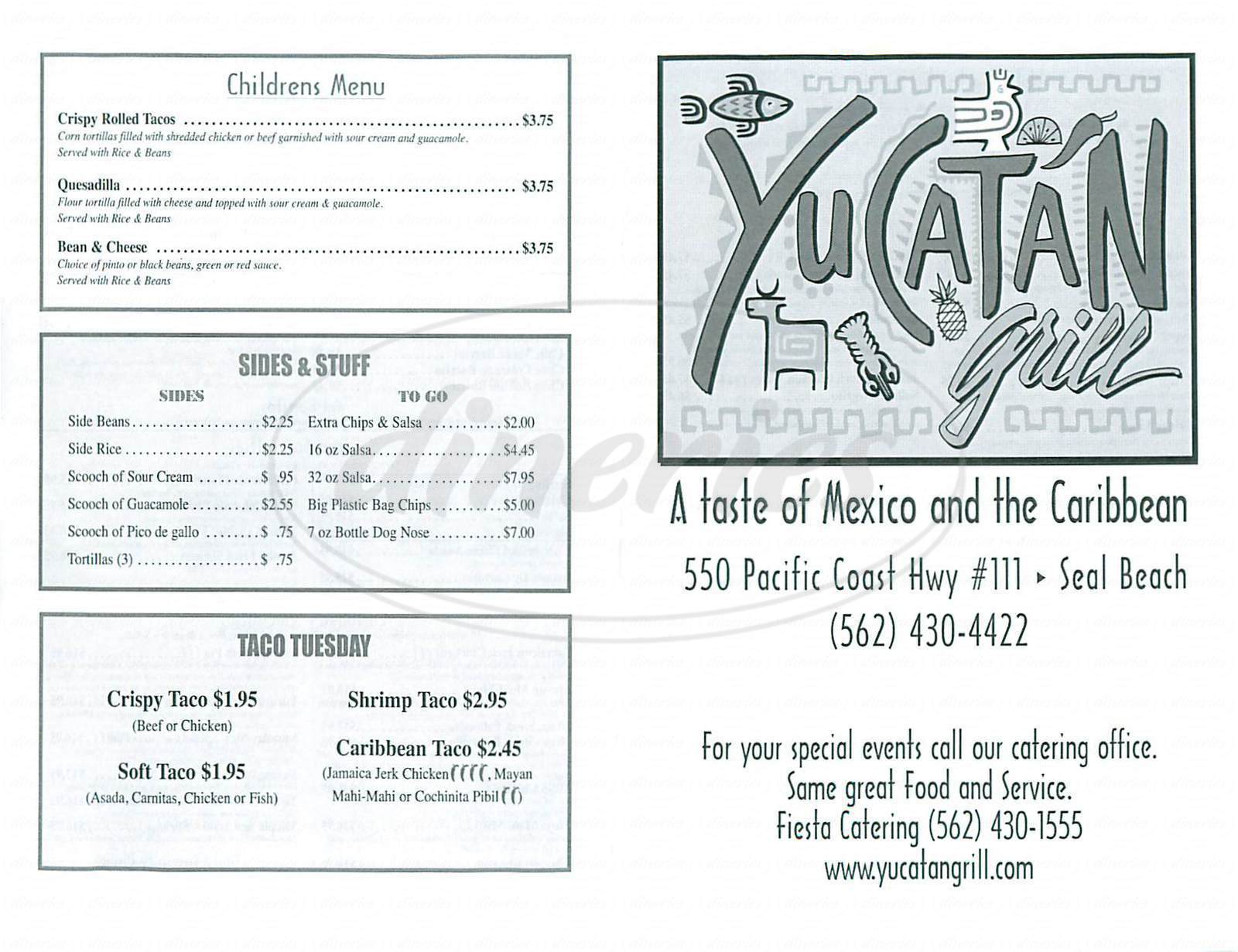menu for Yucatan Grill