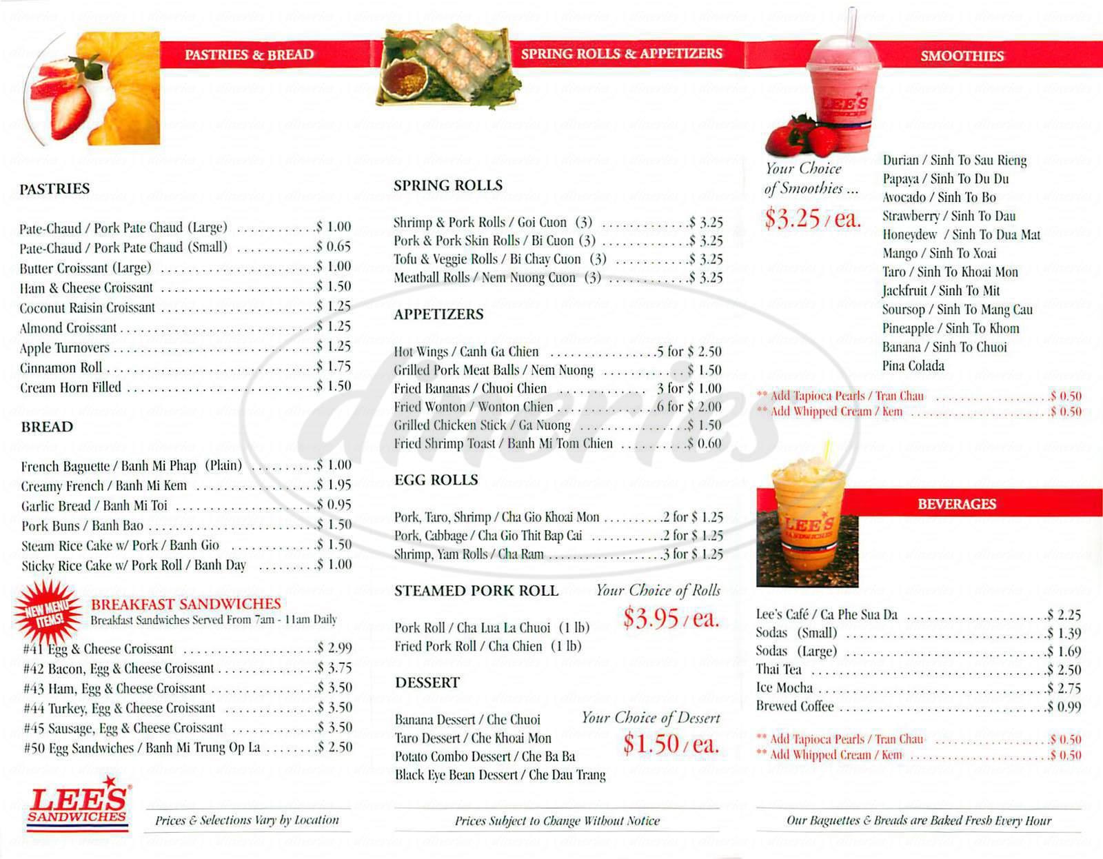 Lee s Sandwiches Menu Fremont Dineries