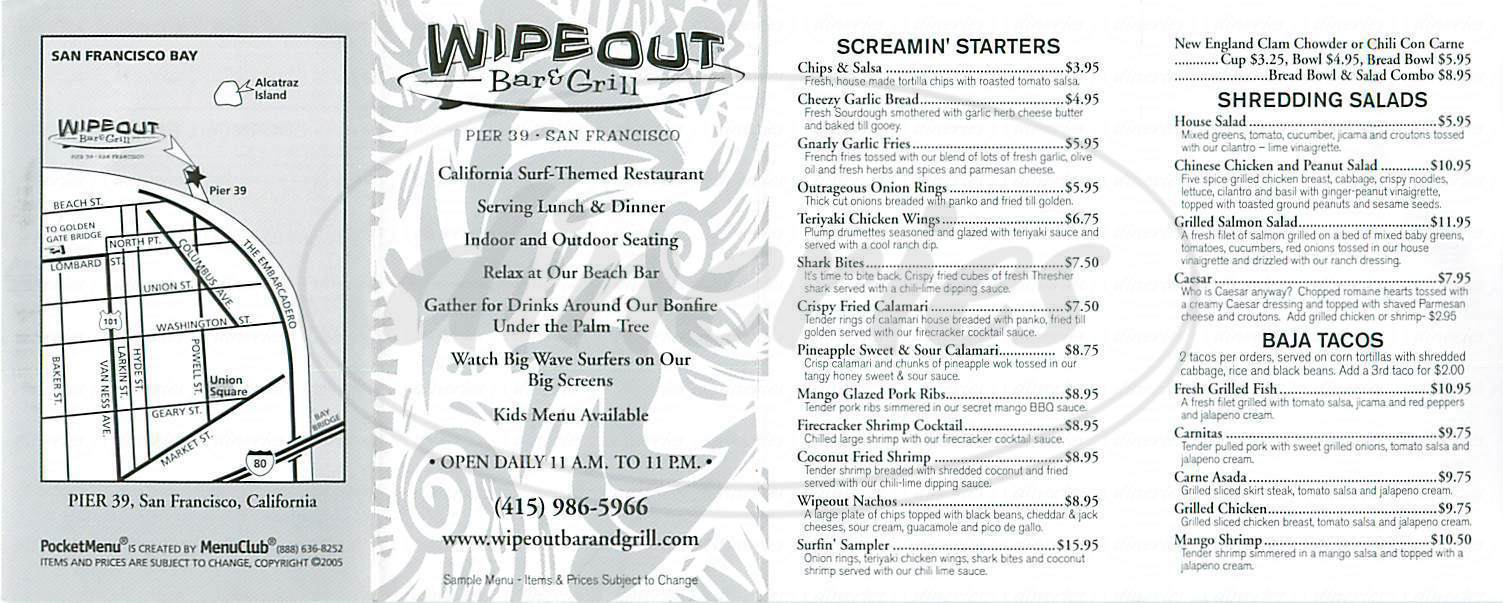 menu for Wipeout Bar & Grill
