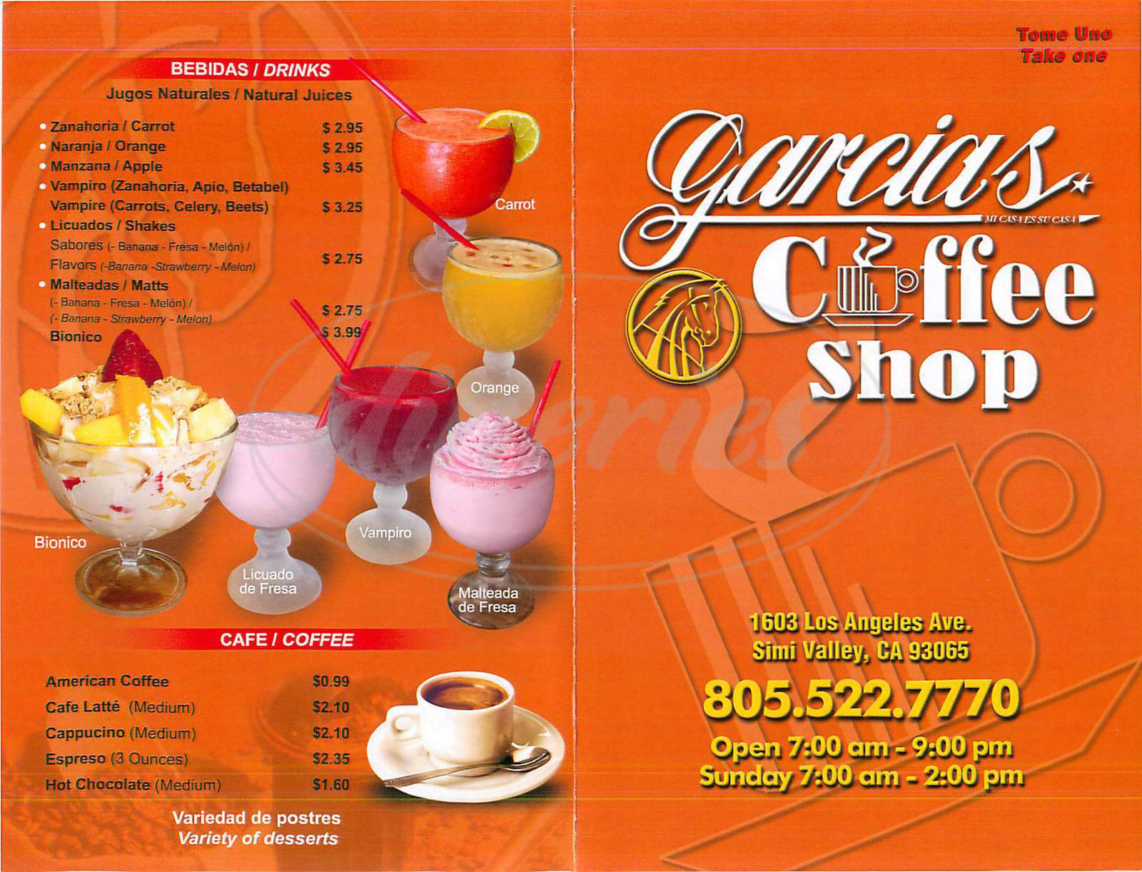 Garcia 39 S Coffee Shop Menu Simi Valley Dineries