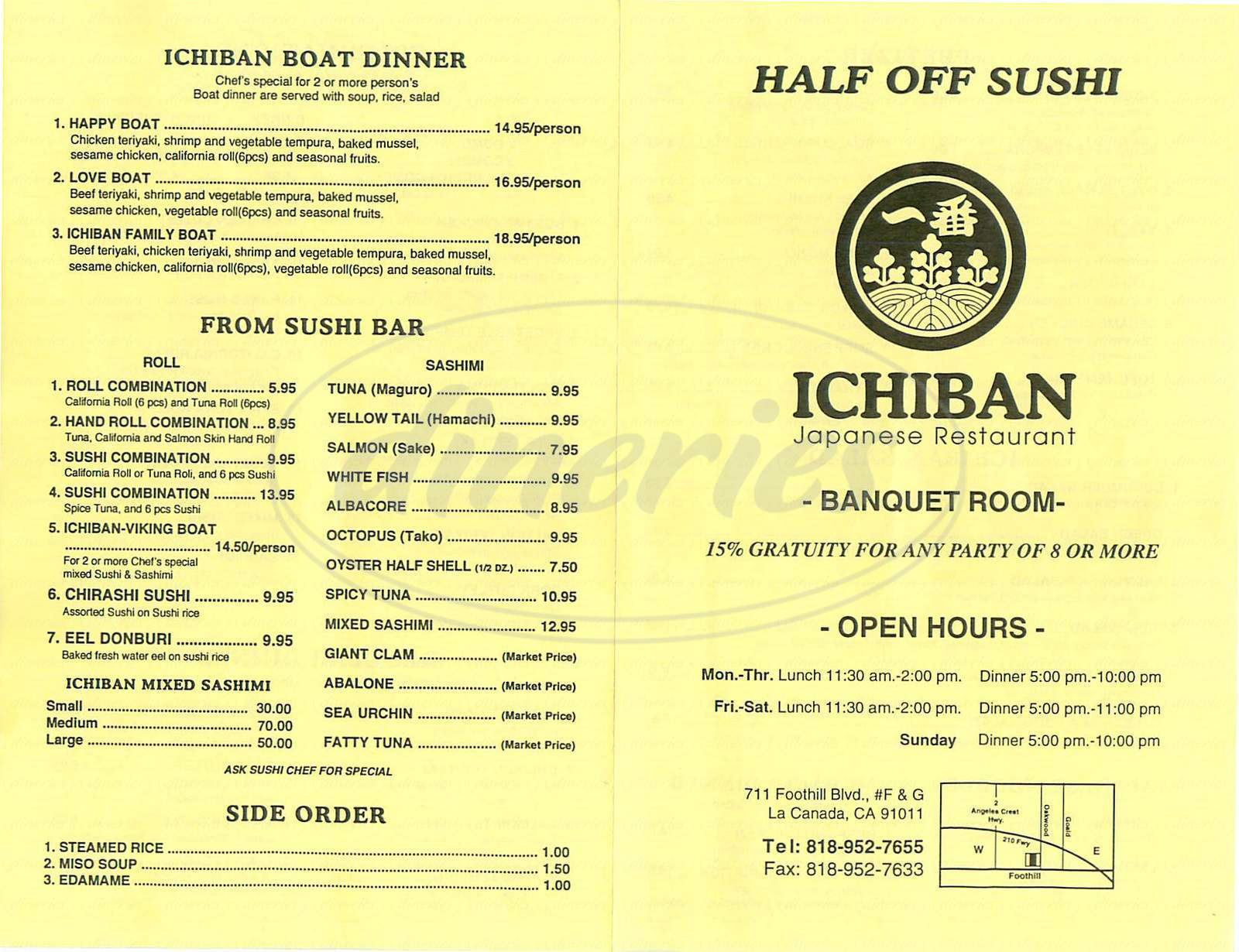 menu for Ichiban