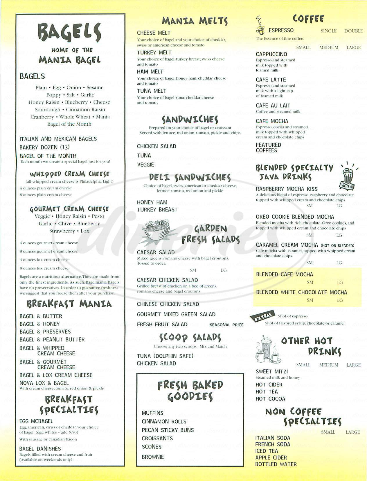 Menu For Bagelmania Coffee House