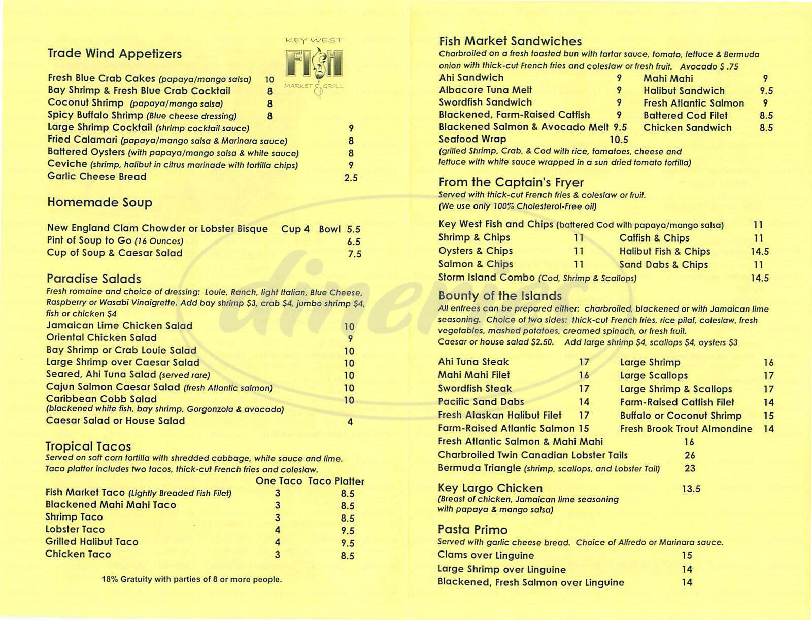 Key west fish market grill menu san juan capistrano for Fish grill menu