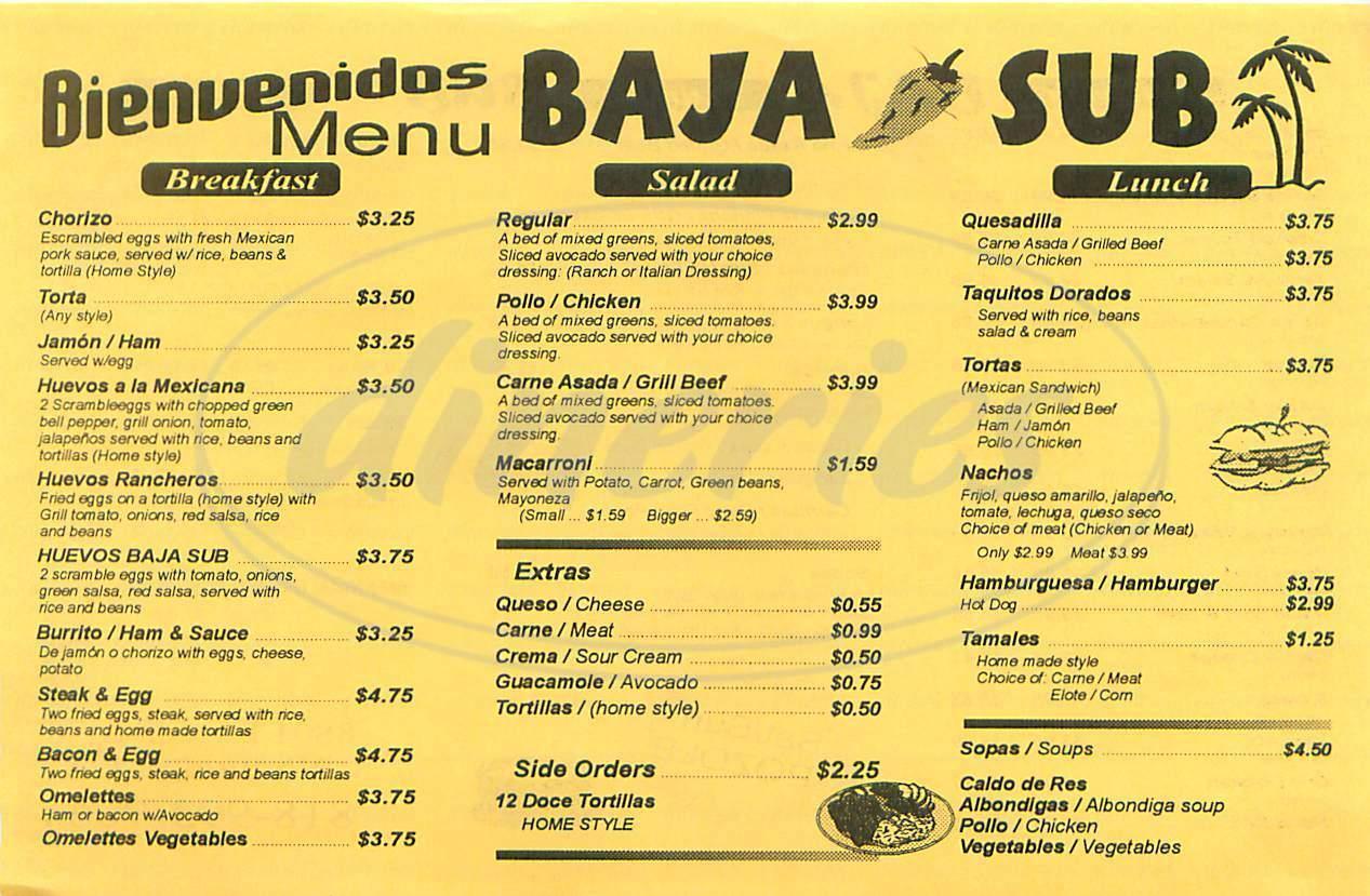 Baja Sub Menu Northridge Dineries