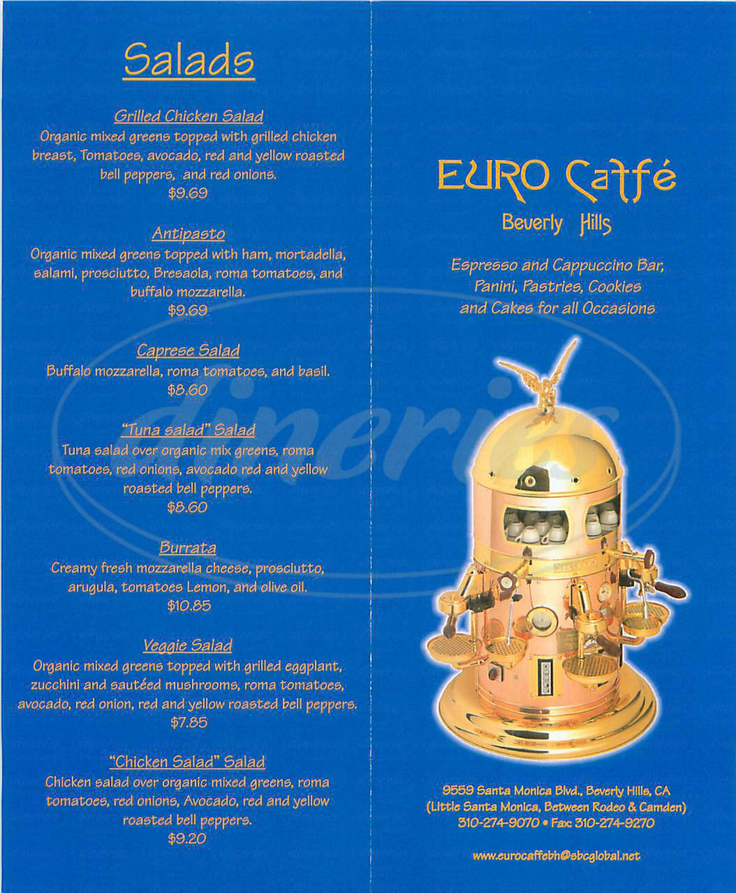 menu for Euro Caffe
