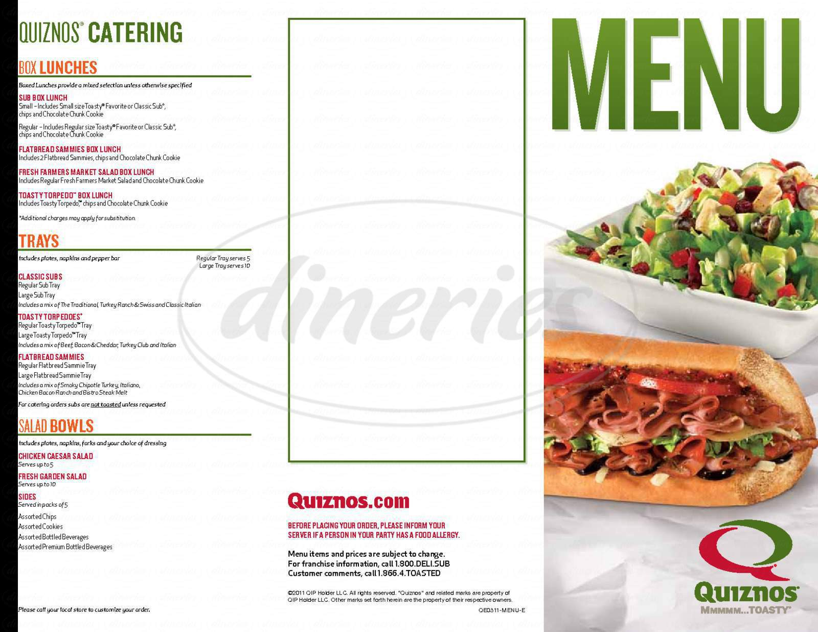 menu for Quizno&#x27;s Classic Subs