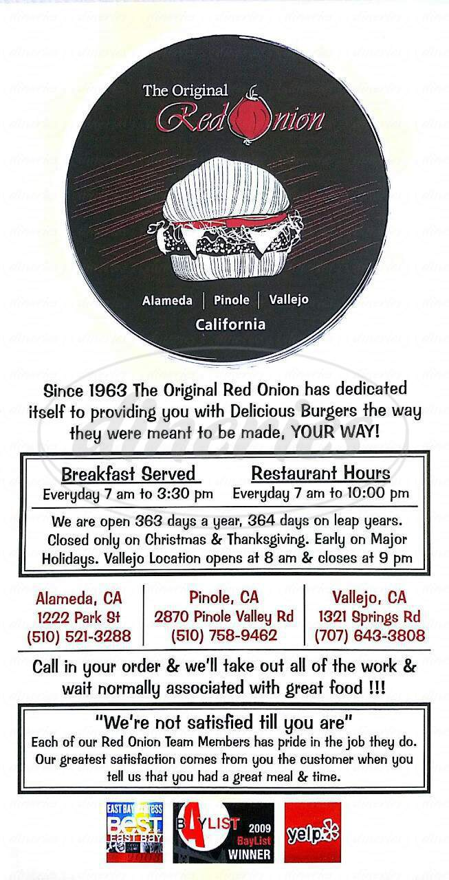 menu for The Original Red Onion