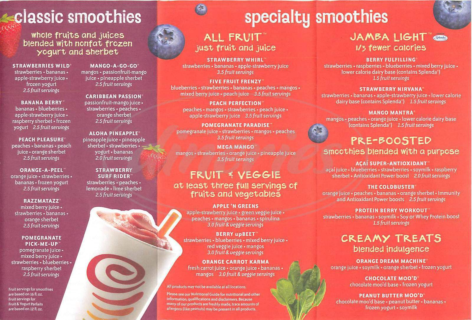 Beach City Smoothies Nutrition