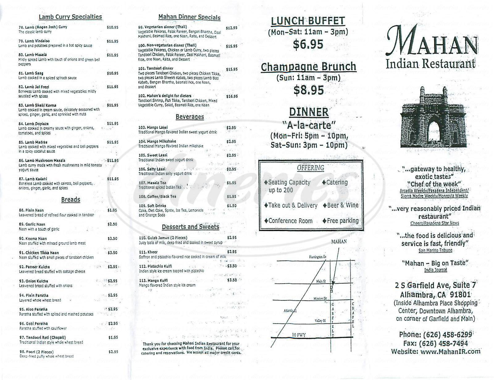 menu for Mahan Indian Restaurant