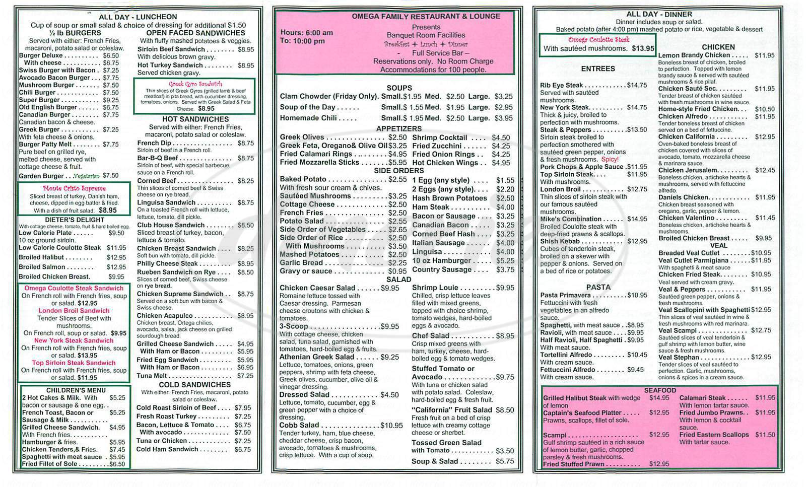 Restaurant Menu Prices