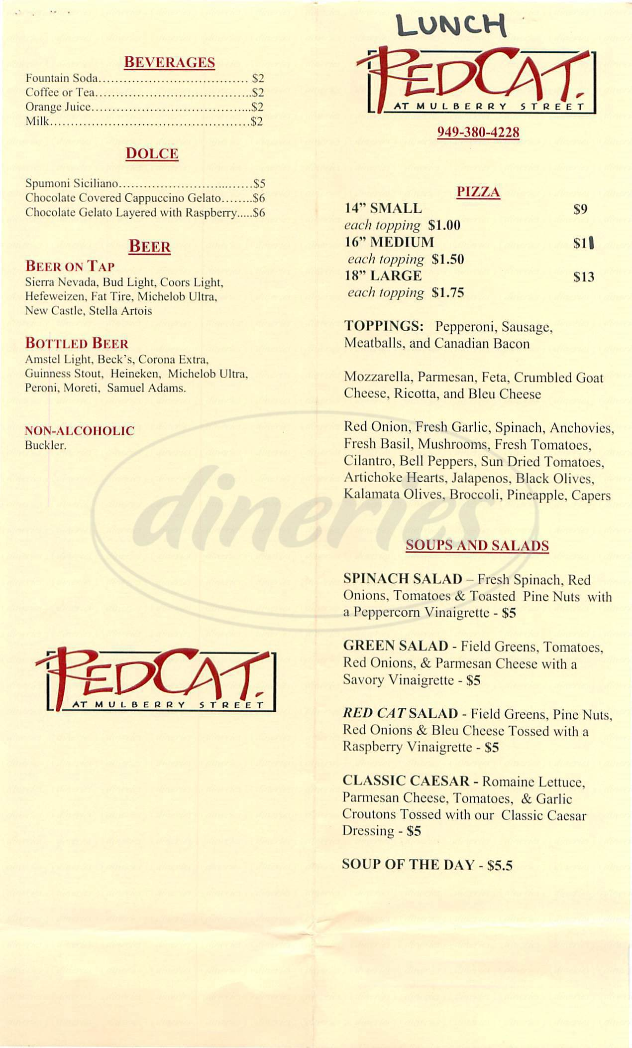 menu for Red Cat at Mulberry Street
