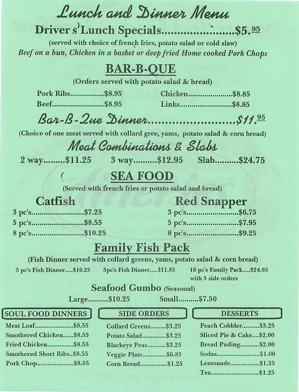 Drivers soul food bar b que menu stockton dineries for Food for bar b q