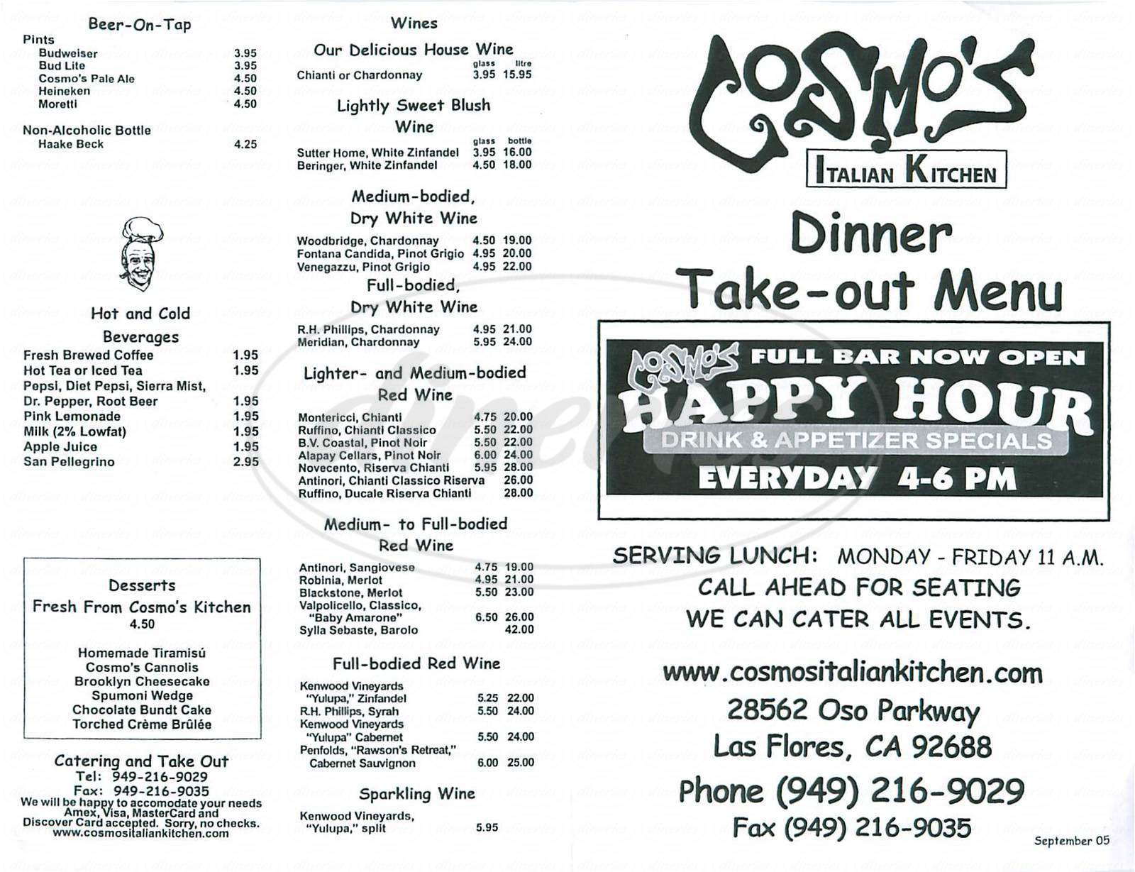Menu For Cosmos Italian Kitchen