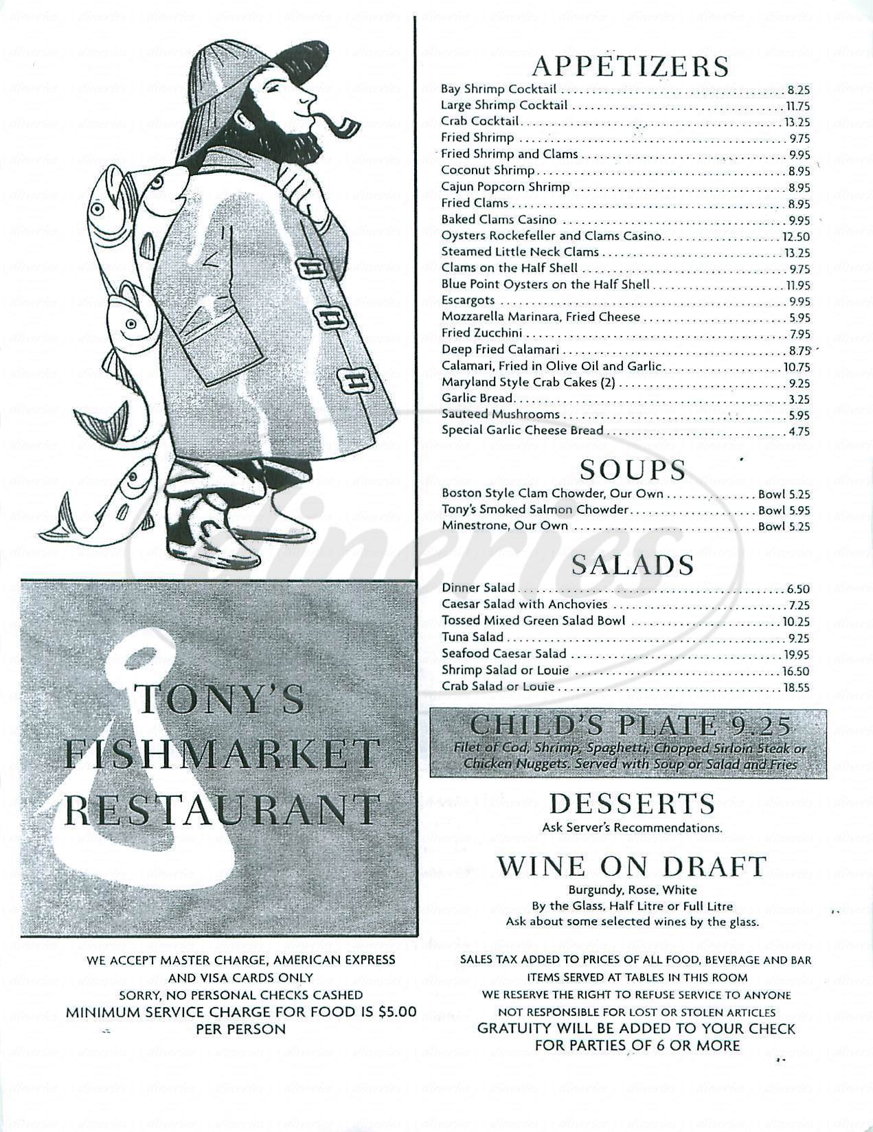 Tony 39 s fish market restaurant closed menu redondo for Tonys fish market