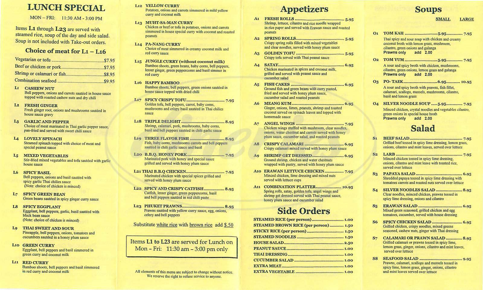 menu for Erawan Thai Restaurant