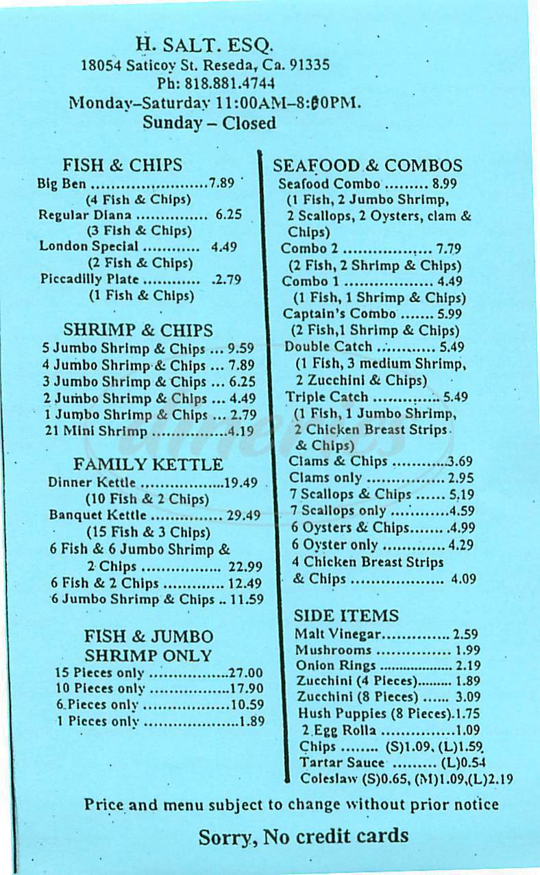 h salt fish chips menu reseda dineries