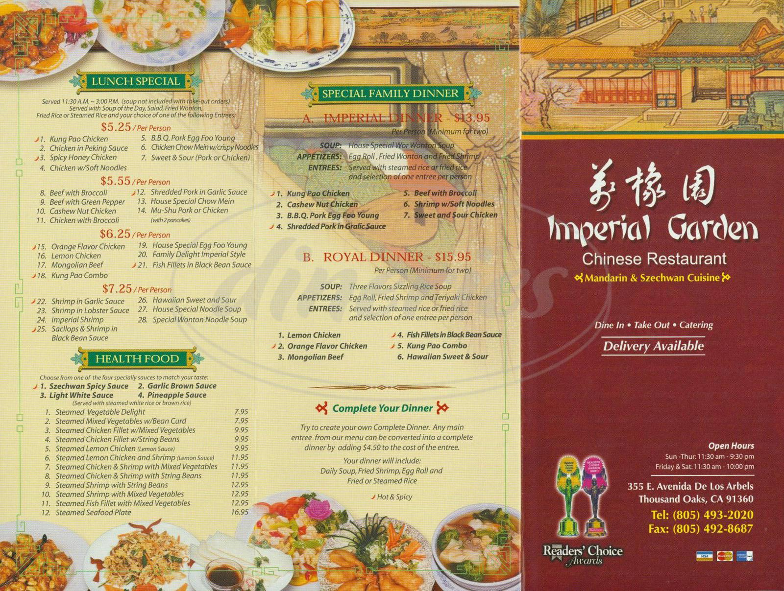Imperial Garden Menu Thousand Oaks Dineries