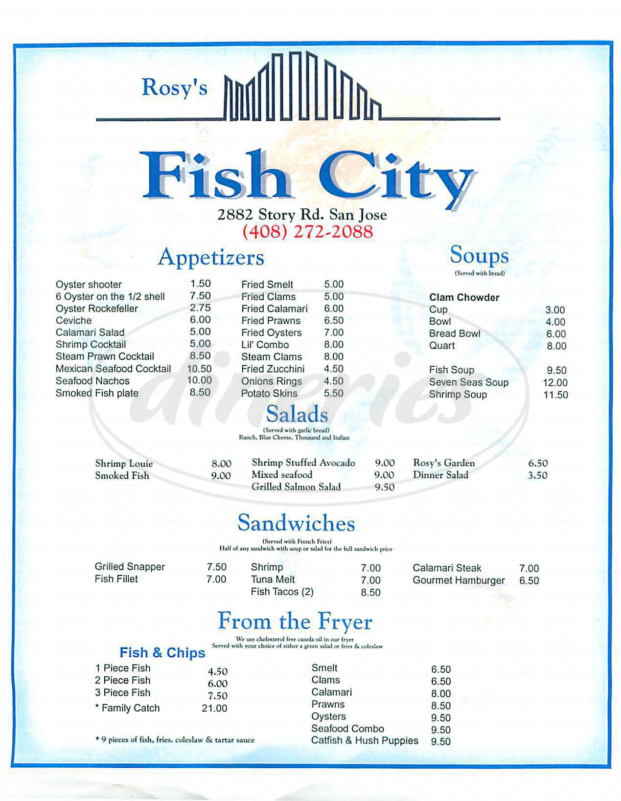 rosys fish city menu san jose dineries