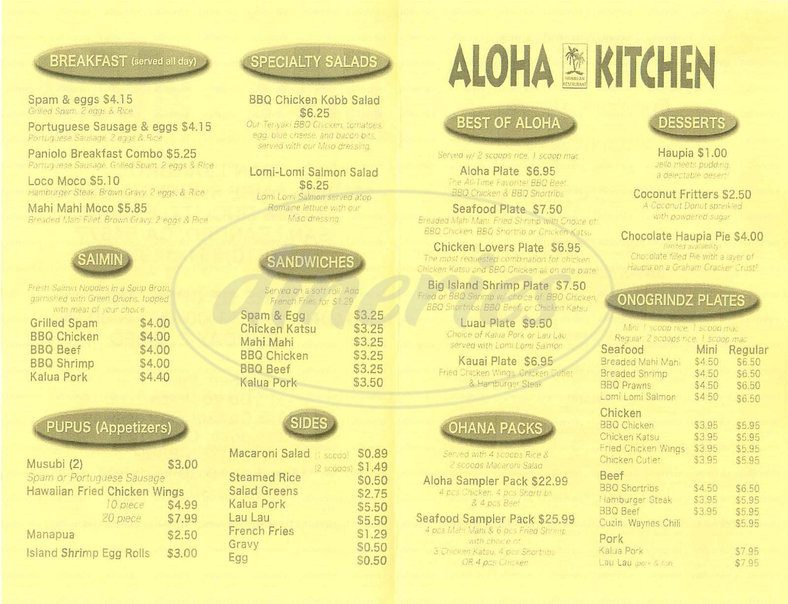 Aloha Kitchen Menu San Leandro Dineries