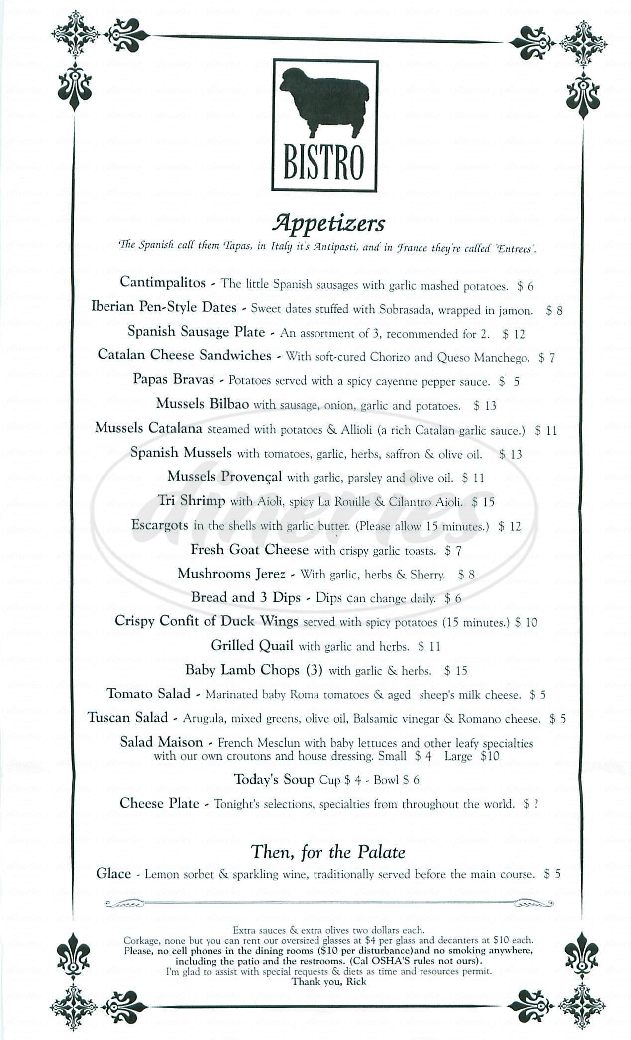 menu for The Black Sheep Bistro