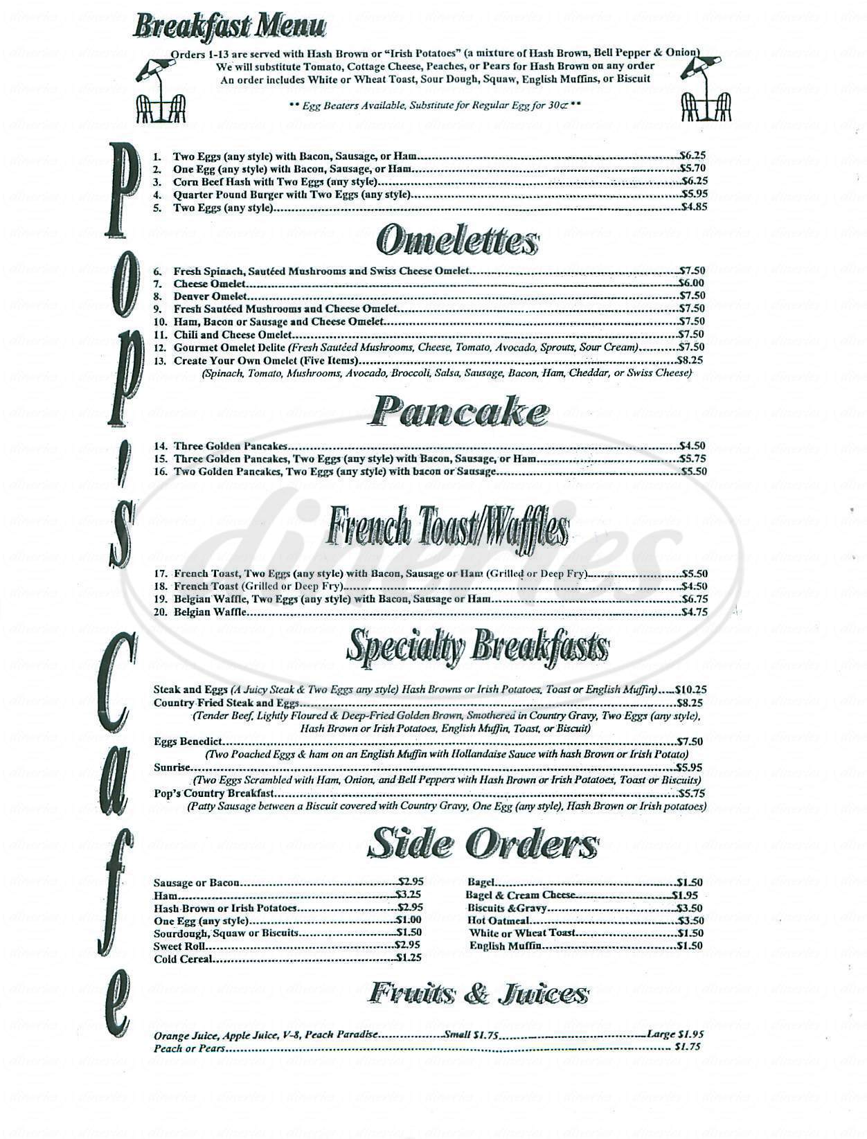 menu for Pops Cafe