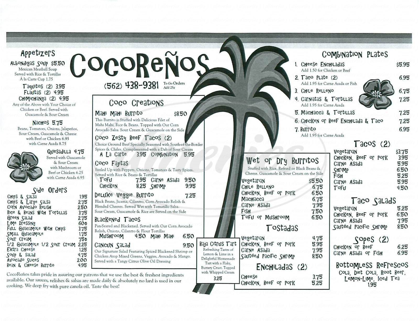 menu for Cocorenos