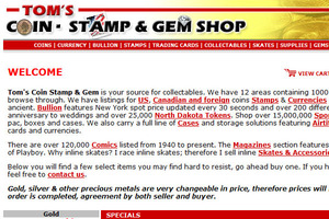 Tom's Coin Stamp Gem BB Comics