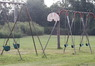 Side view of Swing set with the Basketball hoop